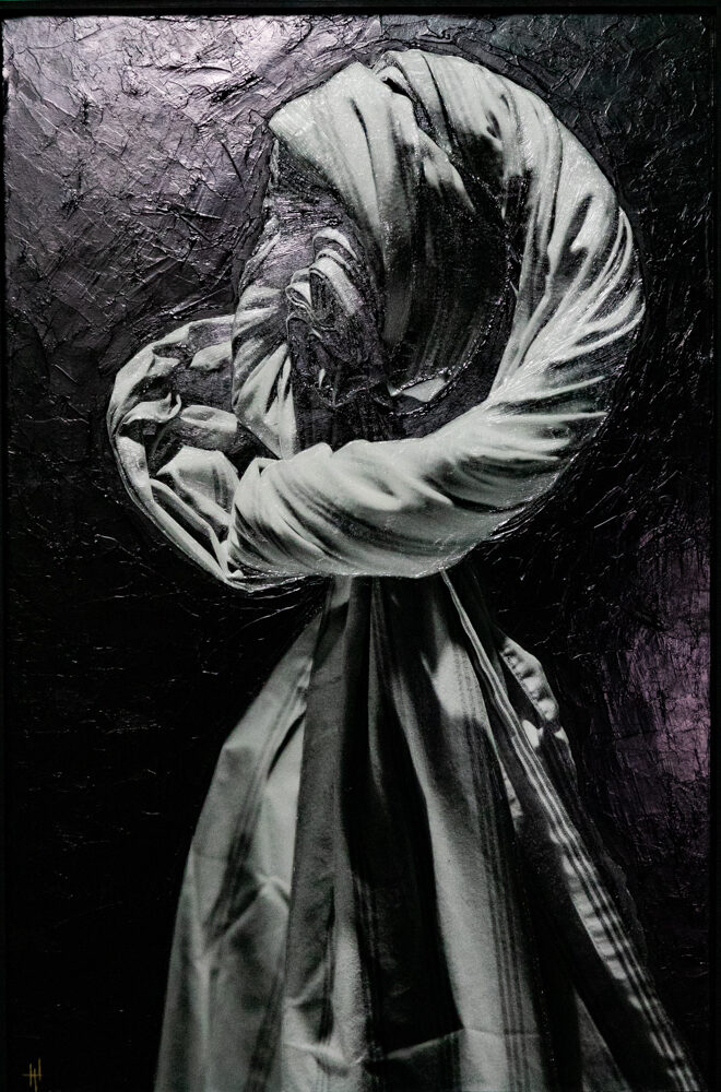 """""""Cotton Ghost"""" 30x19 embellished with acrylics"""